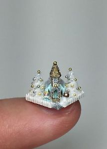 OOAK Miniature Dollhouse Christmas Putz Church Holly Allen Micro Glitter House | eBay