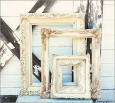 Vintage Frames Set of 3 - This is a set of 3 vintage frames ~  They have been painted with  Annie Sloan Old White Chalk Paint ~  They are waxed with clear and  dark wax ~  The sizes are 18.5 x 15, 14 x 15 and  9.5 x 8.5 inches ~    Please note ~  The actual colors are a little darker  waxed than the pictures show ~ 48.00 + Ship - http://www.katiesrosecottagedesigns.com