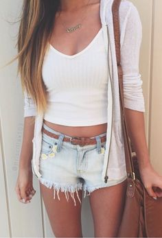 Casual crop top + cardigan #summerclothes