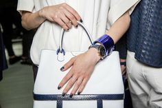 Emporio Armani tote and navy nails