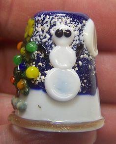 Handmade Lampwork Glass Thimble -Christmas Snowman
