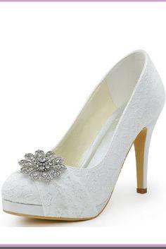 ElegantPark HC1413P Women Pumps Closed Toe Platform High Heel Buckle Lace  Wedding Bridal Shoes high heel ivory wedding shoes  wedding  weddingShoes  ... 9aacb6def563