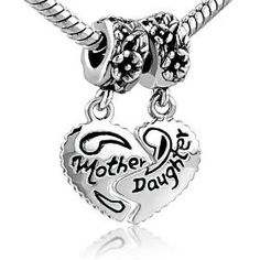 Heart Mother  Daughter Beads Charm- Pandora Charms Bracelet Compatible