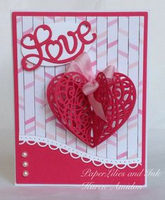 PaperLilies and Ink used  Serendipity Stamps Heart Scroll and Love dies to make her card