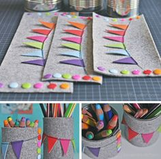 DIY tutorial: blechdosen - stiftebecher recycling / tin can to pencil pot Diy And Crafts Sewing, Crafts For Girls, Crafts To Sell, Sewing Projects, Diy Crafts, Recycle Crafts, Diy For Teens, Diy For Kids, Diy Y Manualidades