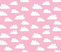 White clouds on Pink fabric by carinaenvoldsenharris on Spoonflower - custom fabric