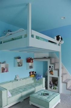 30 Cool Loft Beds for Small Rooms Blue Hanging Loft Bed For Kids Cool Bedrooms For Teen Girls, Girls Bedroom, Small Room Bedroom, Bedroom Loft, Awesome Bedrooms, Bedroom Decor, Bedroom Ideas, Child's Room, Dorm Room