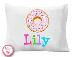 Donut Pillow Case Donuts Personalized Pillow by TheTrendyButterfly Slumber Party Favors, Slumber Parties, Personalized Pillow Cases, Personalized Gifts, Soft Pillows, Decorative Pillows, Monogram Pillowcase, Sprinkle Donut