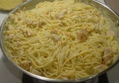 Ingredient    16 oz linguini, cooked   ½ cup butter, softened   4 chicken breasts, cooked, diced   2 cans cream of chicken soup ...