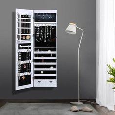 IKayaa Armoire Suspendu Mural Cabinet à Bijoux Rangement Pour Chambre Ou  Dressing Avec 6 LED Lumière Au Sommet Et Miroir