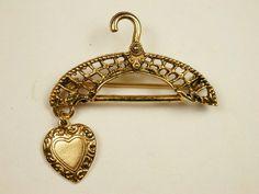 Vintage Hanger Heart Charm Brooch