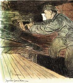"""Ostatni strzał"" – litografia barwna Leopolda Gottlieba"