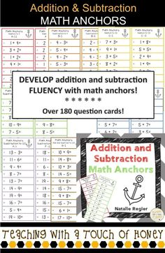 Addition and Subtraction Math Anchors are a great way to build your students' addition and subtraction fluency? Use math anchors to develop the basic addition and subtraction skills of your students!   I have used these math anchor cards for many years. Students build math fluency by practicing their basic addition and subtraction facts.