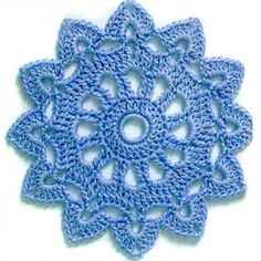 crochet motif or doily, 5 rounds, see graph sunburst small doily #2