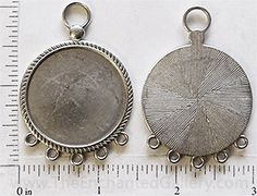 31mm round silver pendant tray with 5 bottom loops for hanging charms and beads