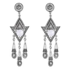 Gorgeous Rhinestone Triangle Earrings (£1.09) ❤ liked on Polyvore featuring jewelry, earrings, triangular earrings, triangle jewelry, rhinestone jewelry, rhinestone earrings and triangle earrings