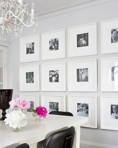but black frames + white mats. like the size and arrangement. for the living room wall?