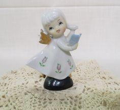 Vintage Ceramic Porcelain Angel With Book Gold Wings Tulips Mid Century Figurine Hand Painted by KansasKardsStudio on Etsy