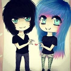 So adorable<3 cute emo couple drawing:)