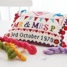 Wedding Sampler Cross Stitch on Needlepoint canvas kit Cross Stitch Samplers, Cross Stitch Kits, Cross Stitching, Cross Stitch Embroidery, Cross Stitch Patterns, Thick Wool Yarn, Wedding Cross Stitch, Framed Fabric, Printed Bags