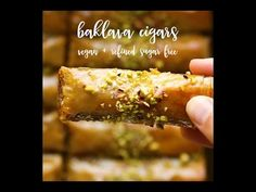 Vegan baklava cigars are an impressive yet rather quick to make dessert. They are refined sugar free and are way healthier than the non-vegan version. Vegan Dessert Recipes, Vegan Sweets, Vegan Baklava, Lazy Cat Kitchen, Baking Tins, Vegan Baking, Plant Based Recipes, Vegan Vegetarian, Pastries