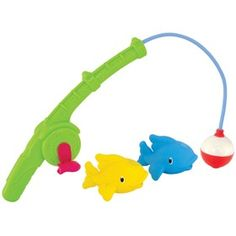 The Munchkin Gone Fishin' Bath Toy comes with a magnetic fishing hook that easily picks up fish (2 squirting toys), and a handle specially designed to fit toddler hands.