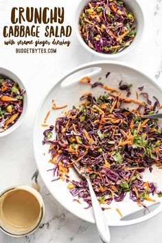 This crunchy cabbage salad holds up great in the refrigerator, so you can have a fresh crunchy vegetable side all week long! Budgetbytes.com Vegan Recipes Beginner, Healthy Dinner Recipes, Appetizer Recipes, Salad Recipes, Vegetarian Recipes, Appetizers, Crunchy Asian Salad, Cottage Meals, Vegetarian Cabbage