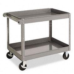 A durable metal cart makes moving heavy objects around your office or home much easier. The Tennsco cart has two shelves that can hold up to 500 pounds. It has five-inch castor wheels for easy maneuverability, and the tray lip reverses to a flat top.