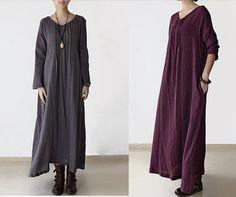 3 Colors Maxi Dress Long Sleeve Dress Women Spring/Autumn Dress Robe Cotton Linen Clothing Plus Size V-neck Shift Dress on Etsy, $69.00