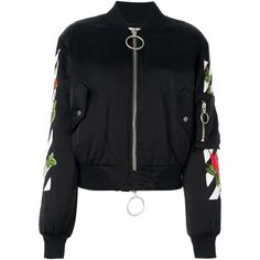 Off White Multicoloured Print Bomber (19.114.480 IDR) ❤ liked on Polyvore featuring outerwear, jackets, black, colorful jackets, bomber jacket, multi color jacket, off white jacket and flight bomber jacket