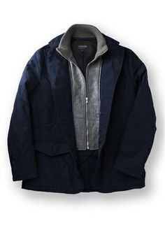 Navy Quilted Hybrid Jacket