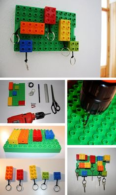 The best DIY projects & DIY ideas and tutorials: sewing, paper craft, DIY. DIY Gifts Ideas 2017 / 2018 lego @ Home Idea Network -Read Legos, Lego Key Holders, Home Decoracion, Lego Craft, Lego Room, Diy Gifts, Handmade Gifts, Creation Deco, Ideias Diy