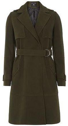 Womens dark khaki olive d ring trench coat- green from Dorothy Perkins - £52 at ClothingByColour.com