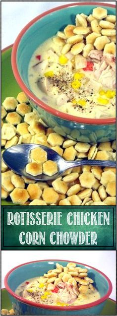 Rotisserie Chicken Corn Chowder... YOW good stuff.  Milky creamy LOADED with vegetables and enough protein (that's TV chef talk for meat) to make it a hearty meal anytime.  And DELICIOUS!