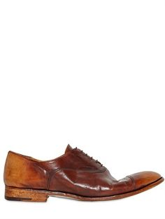 $972, 20mm Hand Brushed Oxford Leather Shoes by Alberto Fasciani. Sold by LUISAVIAROMA. Click for more info: http://lookastic.com/men/shop_items/147997/redirect