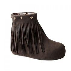 Fashion Fringe and Rivets Design Women's Short Boots, DUN, 39 in Boots | DressLily.com
