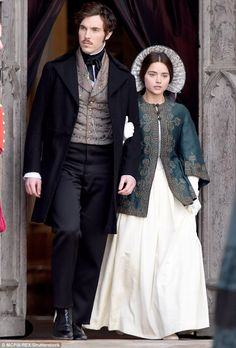 The newly released teaser look for ITV's Victoria shows Jenna Coleman (Queen Victoria) and Tom Hughes (Prince Albert) - who are a real life couple - christening their newborn. Victoria Pbs, Victoria 2016, Victoria Series, Reine Victoria, Queen Victoria Tv Show, Queen Victoria Prince Albert, Victoria And Albert, Jena, Victoria Masterpiece