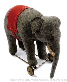 Schuco Roller Yes-No Elephant Antique Toys, Vintage Toys, Vintage Antiques, Teddy Bear Toys, Teddy Bears, Doll Games, Collectible Toys, Pull Toy, Red Felt