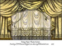 Antique Paper Theater Curtains by EveyD on DeviantArt Theater, Toy Theatre, Paper Curtain, Wedding Background Images, Small Curtains, Marionette, Vintage Interiors, Stage Design, Paper Toys