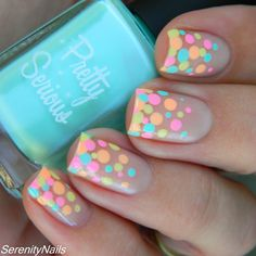 Pastel Neon Polka Dots Nails