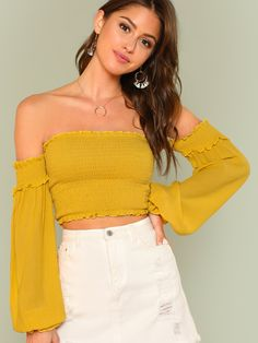 dc4fd61171250d Bishop Sleeve Crop Smock Top Summer Off the Shoulder Long Sleeve Blouse  Women Yellow Party Short Blouse