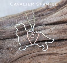 Cavalier Spaniel Necklace, Custom Dog Necklace, Sterling Silver Dog, Dog Outline, Wire Jewelry