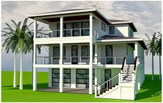 Dorians Beach - Coastal Home Plans Tiny Beach House, Dream Beach Houses, Beach House Decor, Elevated House Plans, Coastal House Plans, Beach House Plans, House Styles, House Interiors, Beach Homes