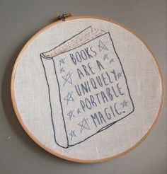 Books are Magic   hand drawn and embroidered by cookoorikoo