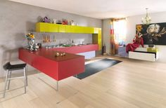 Kitchen Designs with Colorful Kitchen Cabinet Combinations