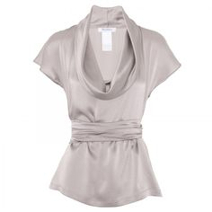 MaxMara Belted silk top ($400) ❤ liked on Polyvore featuring tops, blouses, shirts, blusas, women, silk sash belt, silk top, short sleeve cowl neck top, silk cowl neck blouse and short sleeve shirts