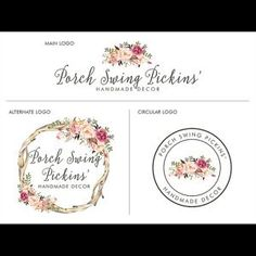 Your place to buy and sell all things handmade Photographer Logo, Flower Logo, Business Logo, Wreaths, Boutique, Logos, Spring, Unique Jewelry, Handmade Gifts