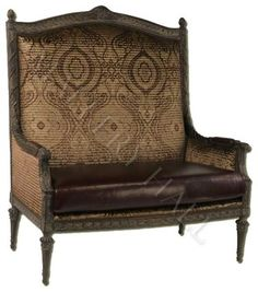 """Custom-made settee with high back in wood, fabric, and leather. Width: 53"""", Depth: 32"""", Ht: 60"""""""