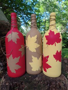 SALE SET OF 3 Fall Wine Bottles Fall Wine by RusticLeavesCrafts