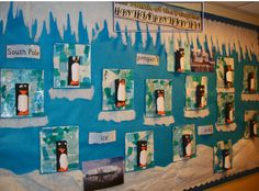 A super Penguin classroom display photo contribution. Great ideas for your classroom! School Displays, Classroom Displays, Classroom Themes, Snow Theme, Winter Theme, Penguins And Polar Bears, Baby Penguins, Eyfs Activities, Winter Activities
